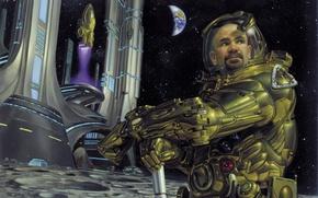 Картинка город, фантастика, луна, космонавт, костюм, будущие
