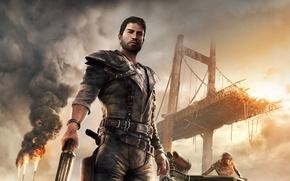 Обои Закат, Мост, Взгляд, Дым, Огонь, Оружие, Пламя, Арт, Экипировка, Mad Max, Warner Bros. Interactive Entertainment, ...