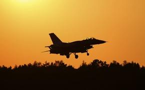 Картинка истребитель, силуэт, полёт, Fighting Falcon, F-16C