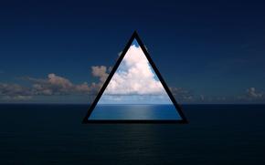 Картинка море, небо, вода, облака, океан, треугольник