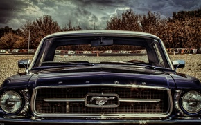 Картинка car, mustang, light, ford, sky, cloud, front, old, classic, american, face, eye, portrait, classiccar