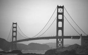 Картинка USA, Golden Gate Bridge, bridge, California, San Francisco, fog, black and white, architecture, structure, America, …