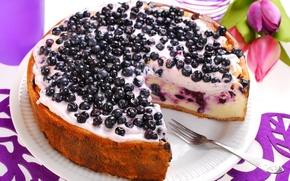 Обои цветы, flowers, торт, cream, cake, food, десерт, dessert, сладкое, tulips, черника, крем, fruits, тюльпаны, cheesecake, ...
