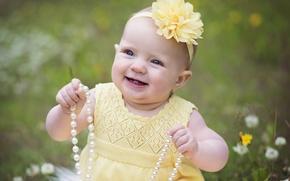 Картинка цветок, радость, счастье, улыбка, ожерелье, девочка, малышка