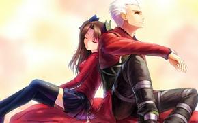 Картинка девушка, аниме, арт, кулон, парень, цепочка, двое, fate stay night, archer, toosaka rin, xiaoyin li