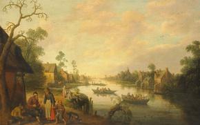 Картинка пейзаж, дом, река, люди, лодка, картина, Вид Реки, Иост Корнелис Дрохслот