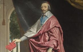 Картинка портрет, живопись, Кардинал, Шампень, Ришелье