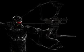 Обои темный фон, лук, мужчина, броня, Crysis 3