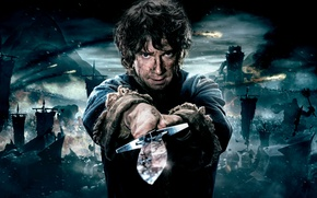 Обои Warner Bros. Pictures, Baggins, Flag, The, Full, Hobbit, Sword, Warriors, Enemy, Bilbo, 2014, Wallpaper, Fantasy, ...