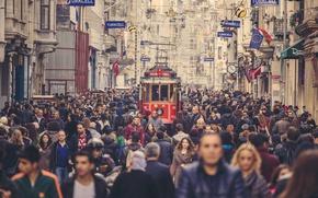 Обои people, Istanbul, crowd, cityscape, tram, urban scene, Turkey, street, everyday life