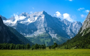 Картинка небо, деревья, горы, долина, луг