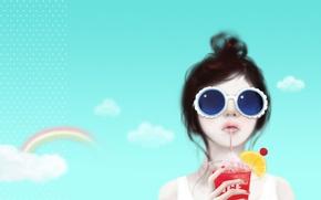 Обои небо, девушка, облака, задумчивость, лимон, радуга, коктейль, трубочка, причёска, Enakei, тёмные очки