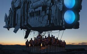 Картинка закат, фантастика, корабль, планета, роботы, арт