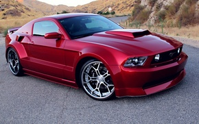 Картинка Red, Tuning, Wide Body Kit, Rims, Ford Mustang GT