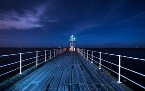 Картинка ночь, мост, океан, маяк, lighthouse on the pier