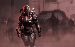 Картинка девушка, оружие, игра, шлем, броня, отряд, Шепард, mass, effect