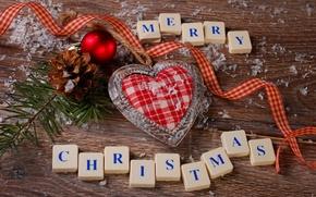 Картинка зима, праздник, шары, сердце, balls, heart, winter, Merry Christmas, holiday, Christmas decoration, рождественские украшения, С …