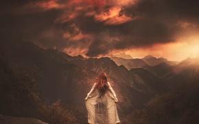 Картинка девушка, горы, луна, платье, арт