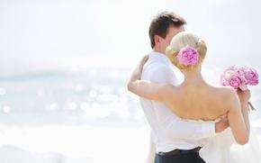 Картинка море, девушка, цветы, пара, парень, свадьба