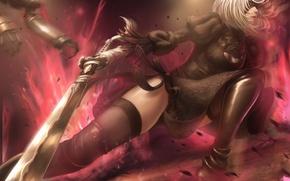 Картинка девушка, поза, робот, меч, повязка, битва