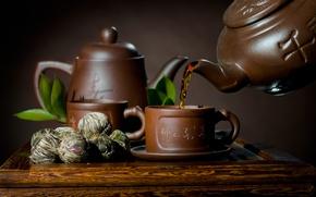 Картинка чай, чайник, чашка, блюдце, листики, заварка
