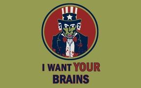 Картинка зомби, я хочу твои мозги, дядюшка сэм
