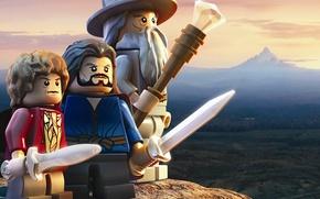 Обои небо, земля, игрушки, гора, посох, мечи, Гендальф, лего, волшебник, Хоббит, Бильбо Беггинс, TT Games, Warner ...