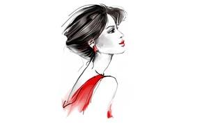 Картинка профиль, элегантность, Tatiana Nikitina, нарисованная девушка, Татьяна Никитина