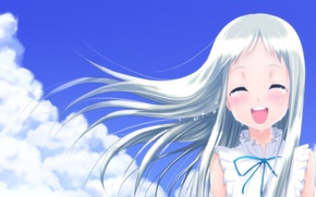 Картинка небо, облака, улыбка, слезы, Аниме, длинные волосы, белые волосы, сарафан, Невиданный цветок, Menma, Ano Hana, …