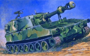 Картинка пушки, арт, установка, американская, паладин, самоходная, paladin, марка, артиллерийская, САУ, экипаж, калибр, гаубиц, самоходных, класса, …