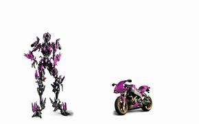Картинка белый, фон, фантастика, трансформер, мотоцикл