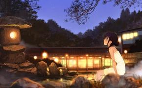 Картинка вода, девушка, ночь, art, горячие источники