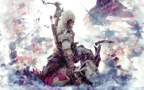 Картинка флаг, Кредо убийцы, топор, капюшон, кровь, солдат, сражение, Assassin`s Creed 3, пистолет