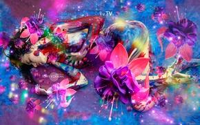 Картинка Цветы, Девушка, Дизайн, Pink, Синий, Неон, Модель, Губы, Стиль, Тело, Girl, Волосы, Обои, Розовый, Руки, …