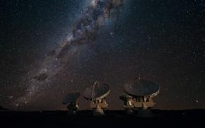 Картинка звезды, Млечный путь, галактика, радиотелескоп