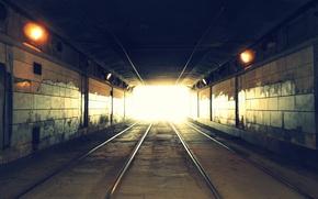 Картинка дорога, свет, рельсы, Тоннель