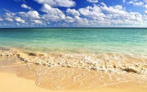 Картинка песок, волны, пляж, небо, облака, Океан