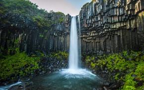 Картинка зелень, скала, река, водопад