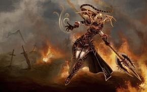 Картинка оружие, janna, арт, разрушение, воин, доспехи, league of legends, мечи, девушка, фантастика, огонь