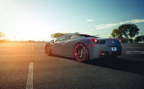 Картинка Ferrari, 458, Sun, Color, Grey, Back, Italia, Supercar, Wheels, Giovanna