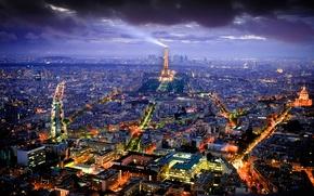 Картинка Франция, освещение, дома, панорама, Париж, город, огни, столица, вид, башня, ночь, Эйфелева, здания