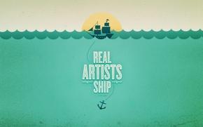 Картинка волны, вода, закат, Корабль, якорь