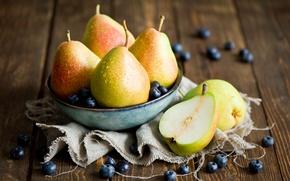 Обои голубика, черника, ягоды, натюрморт, фрукты, Anna Verdina, груши, посуда