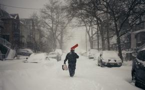 Картинка winter, man, walking, snowing