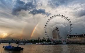 Картинка лондон, радуга, карусель, темза, лондон-ай