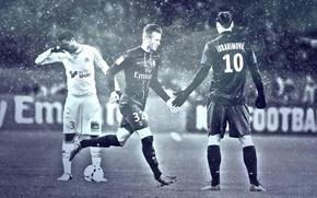 Картинка wallpaper, sport, David Beckham, football, Paris Saint-Germain, Zlatan Ibrahimovic, players