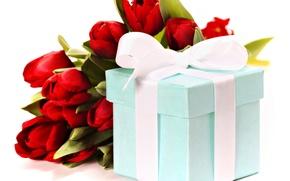 Картинка праздник, подарок, букет, лента, тюльпаны, красные, Natalia Klenova