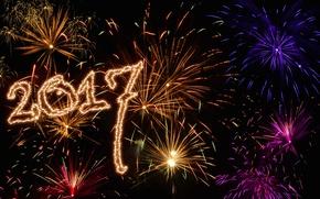 Обои небо, ночь, огни, фон, настроение, праздник, графика, новый год, салют, огоньки, атмосфера, цифры, фейерверк, золотой, ...