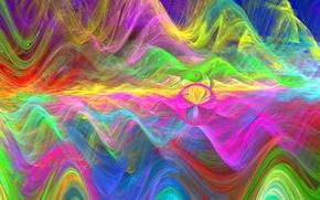 Картинка волны, горы, абстракция, обои, графика, цвет, шар, круг, фрактал