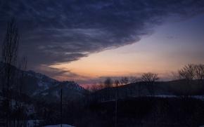 Картинка облака, закат, горы
